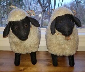 """Vintage 20"""" Designer HndMde Plush Twin Lambs Brown Face Suffolk Sheep Figures"""