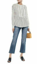 JOIE Morit Women's Blouse Medium Pintuck Peated Striped Cotton Blend Top Tunic