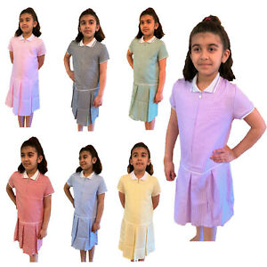 ZIP FRONT PLEATED School Uniform Summer Gingham Girls Dress. Ages from 3 - 14