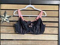 Adore Me Pink Black 💖 Lace Sexy Underwire Bra 44 DD E Plus