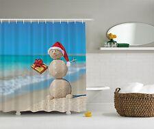 Aqua Holiday Beach Snowman Christmas Fabric Shower Curtain Digital Bathroom