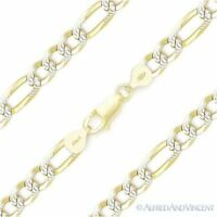 Italy .925 Sterling Silver 14k Yellow Gold 6mm Figaro Pave Link Chain Bracelet