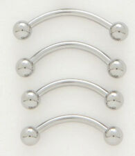 """10 Steel 16g 7/16"""" Eyebrow Rings 3MM Ball Wholesale Lot Curved Barbell Piercing"""