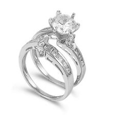 Round Clear Cz - Size 6 Solitaire Wedding Engagement Ring Set Sterling Silver