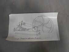 Vtg Antique Hand Drawn Sketch Of A High Pressure Live Steam Engine Model (A3)