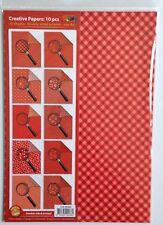 A4 de doble cara papel modelado PACK - 10 Hojas-Rojo Tonos