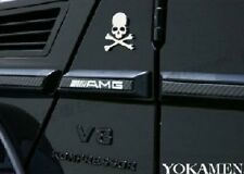 Chrome Front Hood Rear Trunk Skull Metal Logo Badge Emblem Sticker for Audi VW