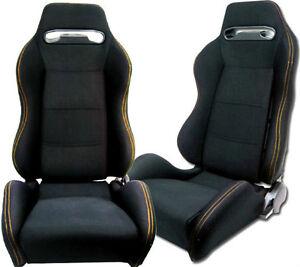 NEW 1 PAIR BLACK CLOTH YELLOW STITCHING ADJUSTABLE RACING SEATS CHEVROLET *****