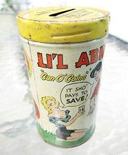 scarce tin litho bank Li'l Abner's Can O' Coins advertising Meriden Savings