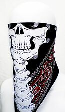 SKULL HALF FACE BANDANA MASK BIKER NECK DUST SUN COVER WIND SCARF RED BLK WHITE