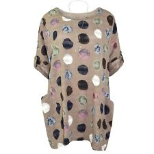 New Ladies Italian Top Polka Dot Women Spotty Tunic Lagenlook Multicolour Dress