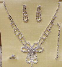Bling Fashion Bridal Wedding Prom RHINESTONE NECKLACE EARRING RING BRACELET SET
