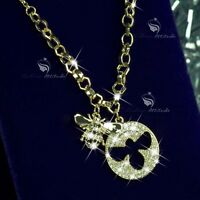 18k yellow gold made with swarovski crystal buzzy bee pendant fashion necklace