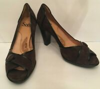 Sofft Womens Classic Pumps Size 7.5M Brown Suede Patent Leather Trim Peep Toe