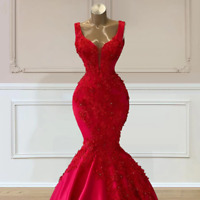 Plus Size Red Wedding Dresses Mermaid Flowers Beading Gowns Engagement Robe
