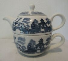 Lovely Vintage Johnson Brothers Willow Blue Teapot with Lid and Cup