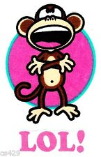 "3"" BOBBY JACK MONKEY TEXT ME LOL WALL SAFE FABRIC DECAL CHARACTER CUT OUT"