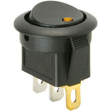 1x Amber LED Round Snap-In Rocker Switch, 3 Pins, ON-OFF 20A 12V DC For Car, DIY