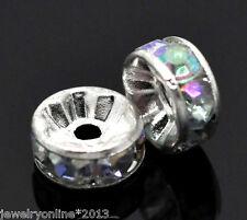 100 Versilbert AB Farben Acryl Strass Rondell Spacer Perlen Beads 8mm