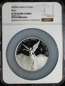 Mexico 2020 5 oz Silver PROOF LIBERTAD, NGC PF70 UC. Perfect grade!!