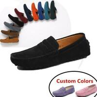 Mens Suede Slip On Flats Casual Penny Driving Moccasins Loafer Shoes 10 Colors