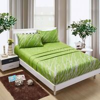 GREEN TREE Sheet Set Queen/King/Super King Size Bed Flat&Fitted&Pillowcases New