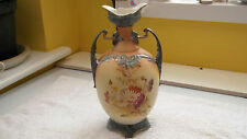 SHAPED FOOTED TWIN - HANDLED CHINA VASE   WITH A FLORAL PATTERN NO MAKER  A/F