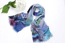 100% Wool Scarf Digitally Printed Blue Theme Floral Print WO3006