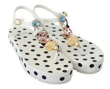 DOLCE & GABBANA Sandals Shoes Crystal Sea Polka Dot Flip Flops EU40/US9.5