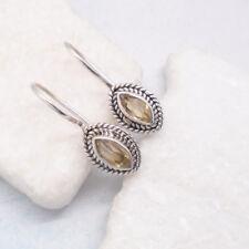 Citrin gelb gold Design Ohrringe Hänger Haken Ohrhänger 925 Sterling Silber neu