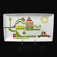 """Crate & Barrel YULE TOWN 10"""" Serving Platter Snack Tray Christmas Car Home"""