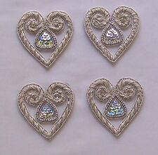 4 Hand-Beaded Appliques Silver Bullion Hearts Sewing DIY