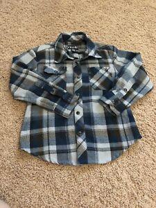 Volcom Little Boys Youth Medium 5 Plaid Flannel Button Shirt Blue Grey Black