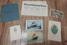 Rms Aquitania Cunard Line Passenger List Ship Paper Picture Book Postcards Menu