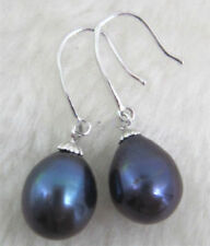 AAA+ 9-10mm Real natural South Sea black drop Pearl Earrings 14K White Gold
