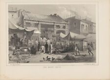 W. Heine Lithograph Adm.Perry's Expedition to Japan Fish Market Canton  1856