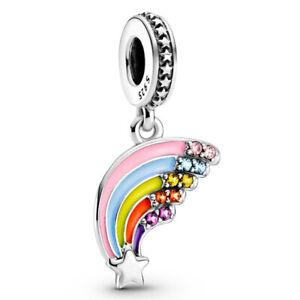 Authentic 925  Silver Charms rainbow Beads Pendant Fit CZ Bracelet For Women