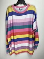 Wildfox Couture Womens Rainbow Stripes Pullover Sweater Multicolored