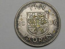 Better-Grade 1936 Silver FIJI One Florin Coin.  #3