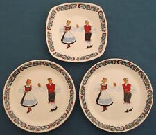 VINTAGE FIGGJO FLINT NORWAY HARDANGER DANCERS COSTUME THREE PLATES SCANDINAVIAN