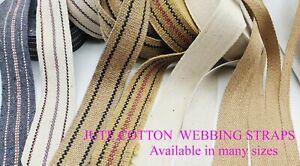 Jute/Cotton Tape Hessian Burlap Ribbon Upholstery Bags Rugs Craft Decor Trim