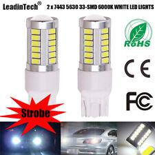 2pcs 7443 Strobe LED Bulbs 5630 33SMD Backup Reverse Stop Parking Light White
