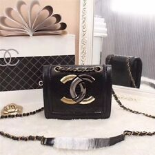 Auth CHANEL Mini Chain Shoulder Bag Quilted CC Patent Leather Black SHW Pochette