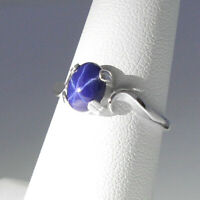 Cornflower Blue Star Sapphire Ring Sterling Silver