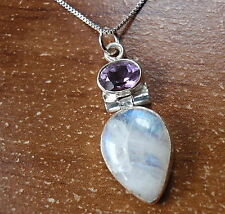 Moonstone Faceted Amethyst Pendant 925 Sterling Silver Corona Sun Jewelry c82p