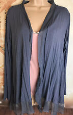 PHASE EIGHT L grey Jersey Longline Frill Hem Cardigan Party Cover Up
