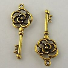 50PCS Antique Vintage Gold Tone Alloy Key Pendant Finding Charms 11x15mm