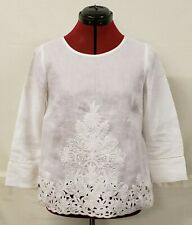 NWT J Crew Embroidered 100% Linen White Shirt Top 3/4 Sleeve Size 00