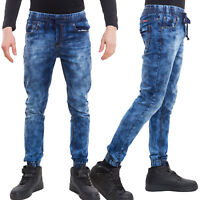 Jeans uomo pantaloni denim slim elastici coulisse casual cotone nuovi 2598