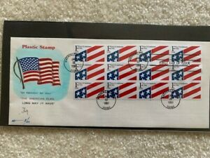 "U.S. #2522 - ""F"" Flag Plastic Stamp (29 cents) - scarce pane of 12 on FDC"